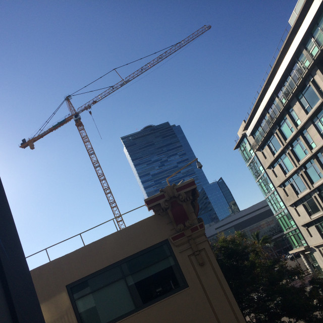 """""""Construction Crane in Downtown"""" stock image"""