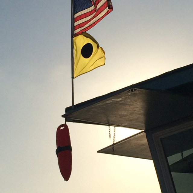 """""""Flags on Lifeguard Station"""" stock image"""