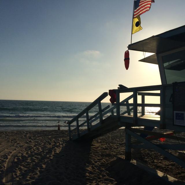 """Lifeguard Station at Dusk"" stock image"