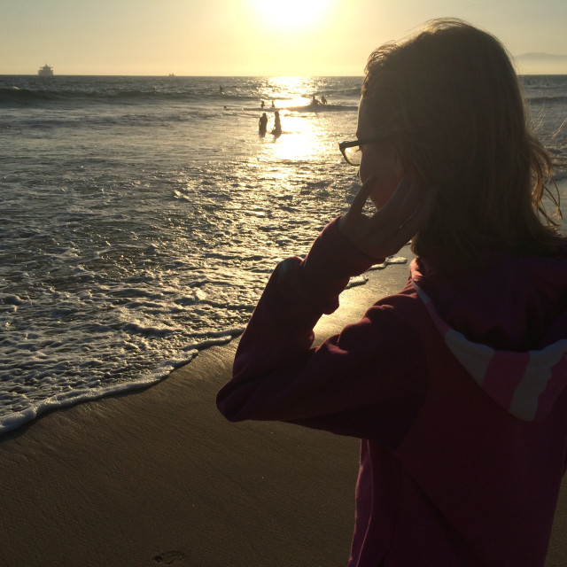 """""""Girl at Beach Silhouette"""" stock image"""
