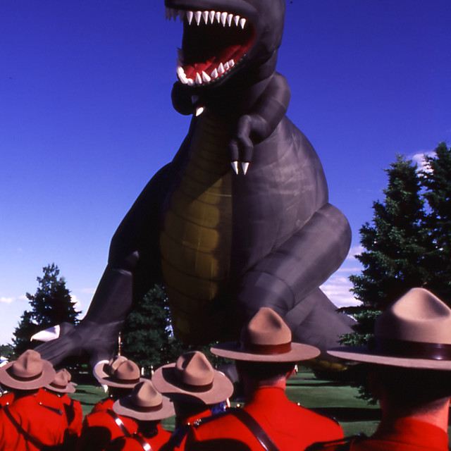 """Mounties vs. Godzilla"" stock image"