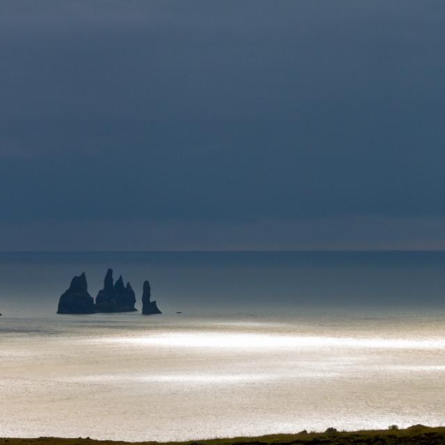 """Reynisdrangar seen from Dyrhólaey cliffs"" stock image"