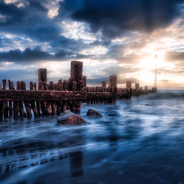 """Groynes of Hunstanton Beach, UK."" stock image"