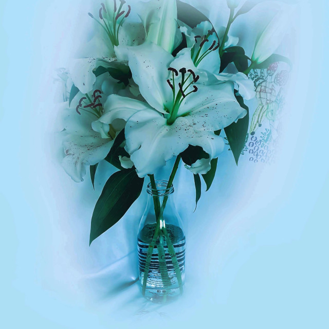 """""""White lilies in a glass bottle"""" stock image"""