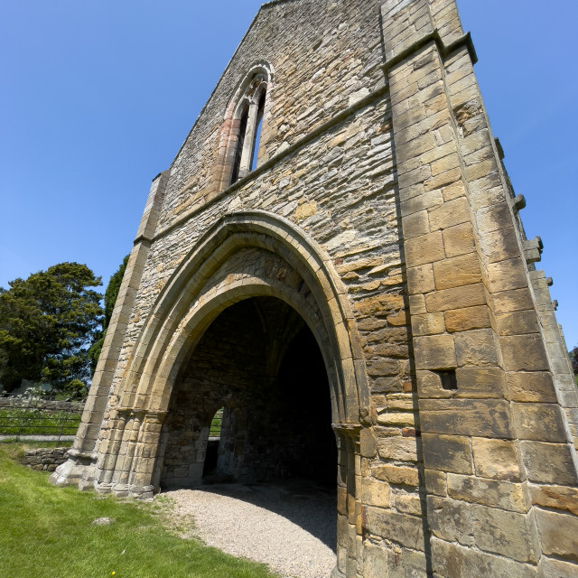 """""""Easby Abbey, Richmond, The Gatehouse Ruins, entrance."""" stock image"""