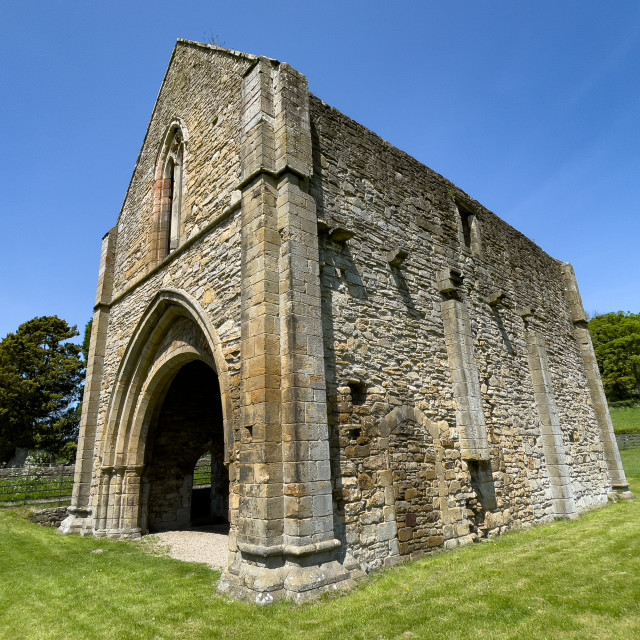 """""""Easby Abbey, Richmond, The Gatehouse Ruins."""" stock image"""