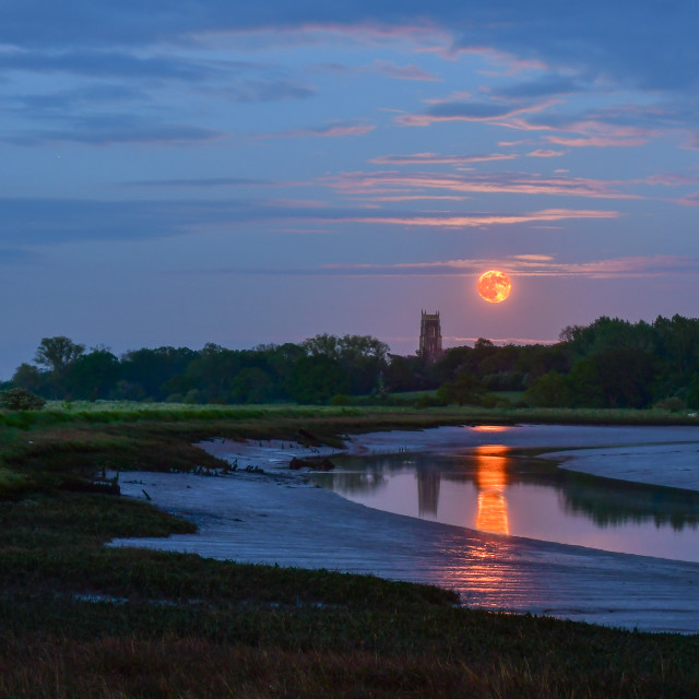 """""""Moonrise over the creek"""" stock image"""