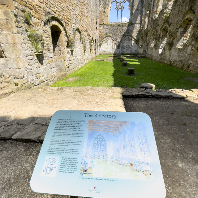 """""""Easby Abbey, Richmond. Refectory Information Display Board"""" stock image"""