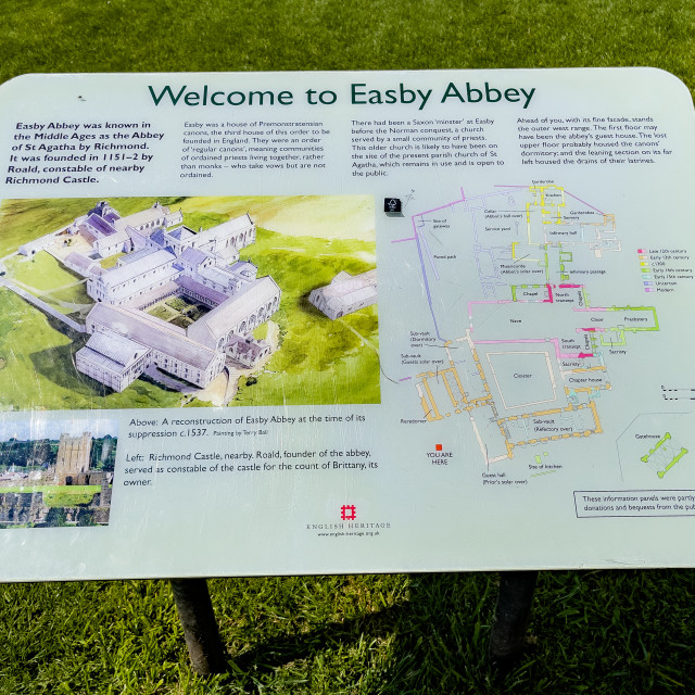 """""""Easby Abbey, Richmond. Information Display Board"""" stock image"""