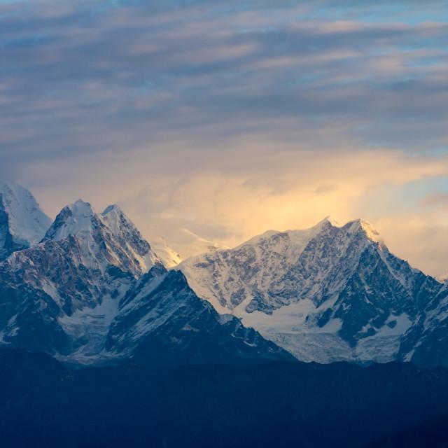 """""""Langtang Himal seen at sunrise from Nagarkot"""" stock image"""
