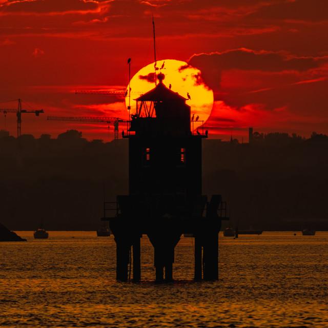 """""""Poolbeg Sunset"""" stock image"""