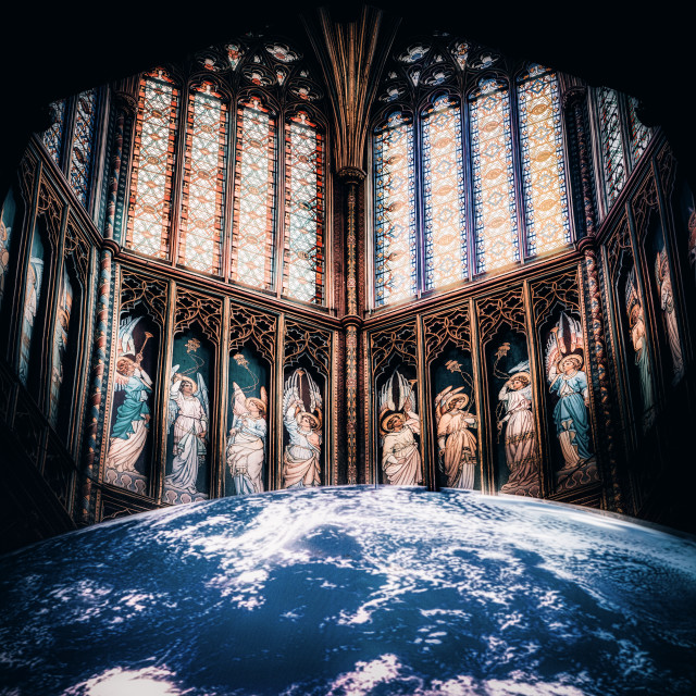 """""""The Octagon Tower and Gaia, Ely UK."""" stock image"""