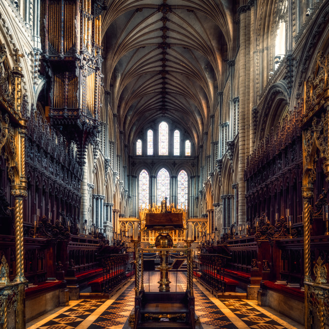 """""""Ely Cathedral Choir, Ely UK."""" stock image"""