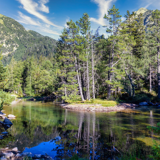 """""""Scenic view of waterfall and lake in a Spanish Pyrenees Mountain"""" stock image"""