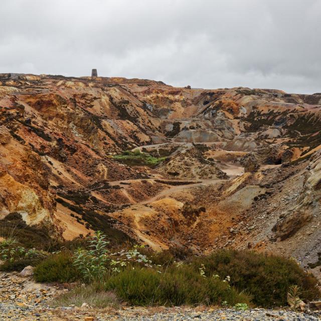 """Parys Mountain Copper Mine - Windmill View"" stock image"