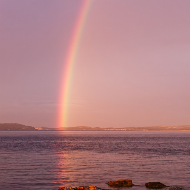 """Rainbow at Penmon"" stock image"