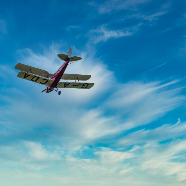 """G-ACDA Biplane Flypast"" stock image"