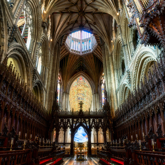 """""""Ely Cathedral Choir and Octagon Tower, Ely UK."""" stock image"""