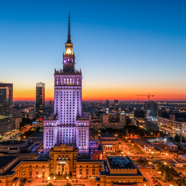 """""""Warsaw city center at dusk, beautiful sunset over the city"""" stock image"""