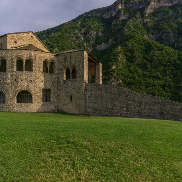 """""""Abbey of San Pietro al Monte in Civate in the province of Lecco"""" stock image"""