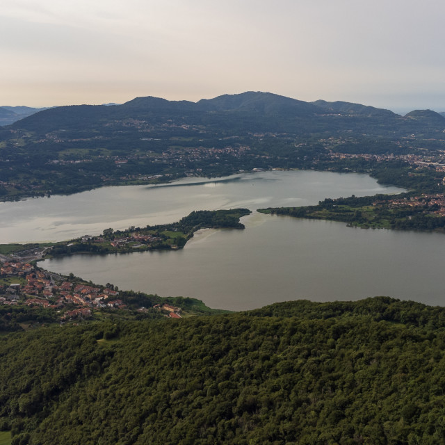 """""""Annone lake seen from the Abbey of San Pietro al Monte"""" stock image"""