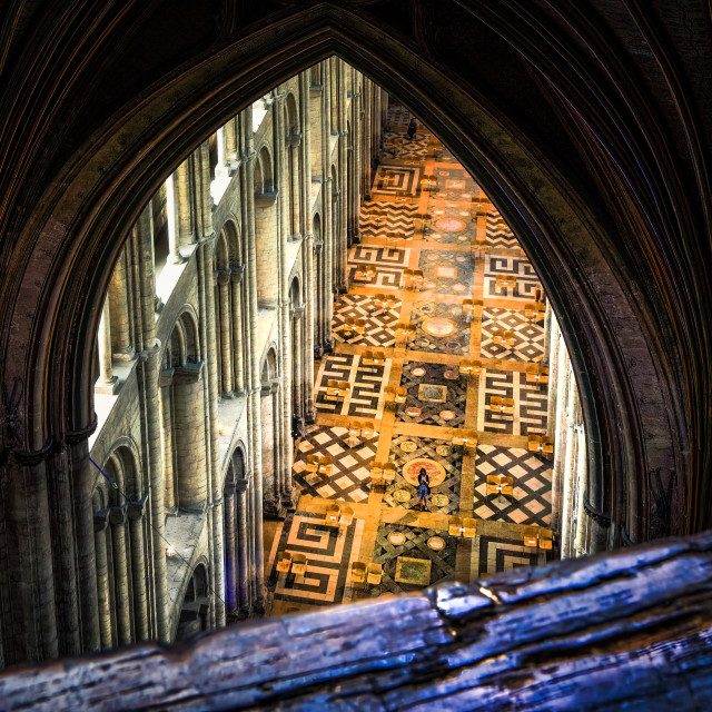 """""""Looking down from the Octagon Tower, Ely Cathedral."""" stock image"""