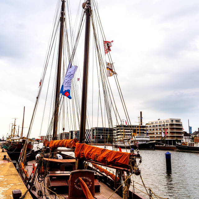 """""""Old wooden sailing boat in the port of Bremerhaven"""" stock image"""