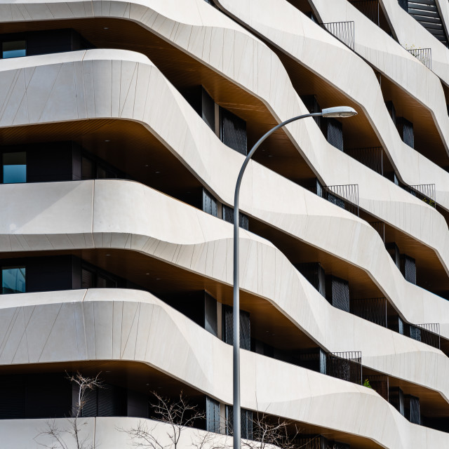 """""""Modern luxury housing in Madrid with concrete terraces"""" stock image"""