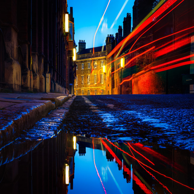"""""""Light trails and reflections from Silver Street, Cambridge UK."""" stock image"""