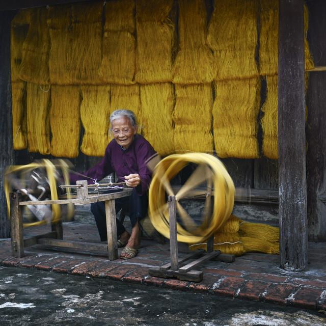 """""""Making silk"""" stock image"""