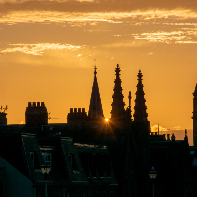"""""""Golden Inverness Sunset and Spires"""" stock image"""