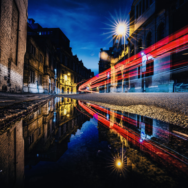 """""""Light trails and reflections from Pembroke Street, Cambridge UK."""" stock image"""