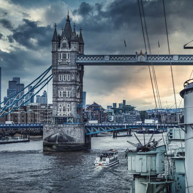 """Tower Bridge from HMS Belfast, London UK."" stock image"