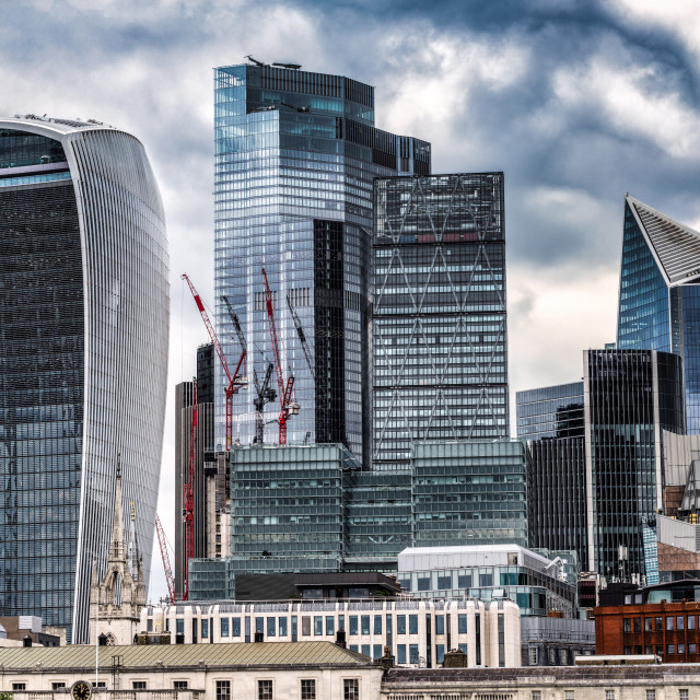 """""""Skyscrapers along The River Thames, London UK."""" stock image"""