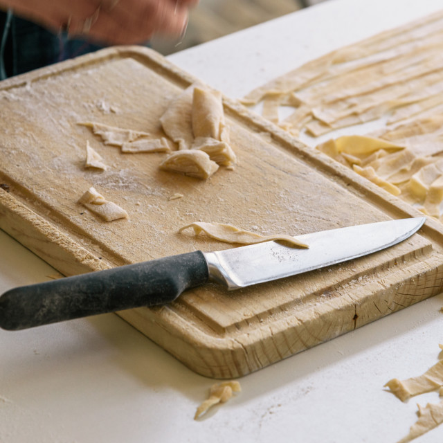 """""""Close-up of the process of making homemade pasta"""" stock image"""