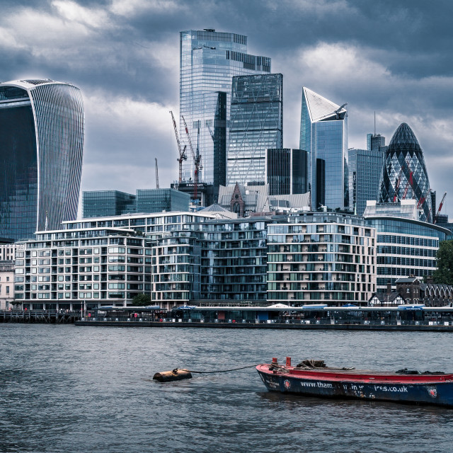 """""""London, by The River Thames."""" stock image"""