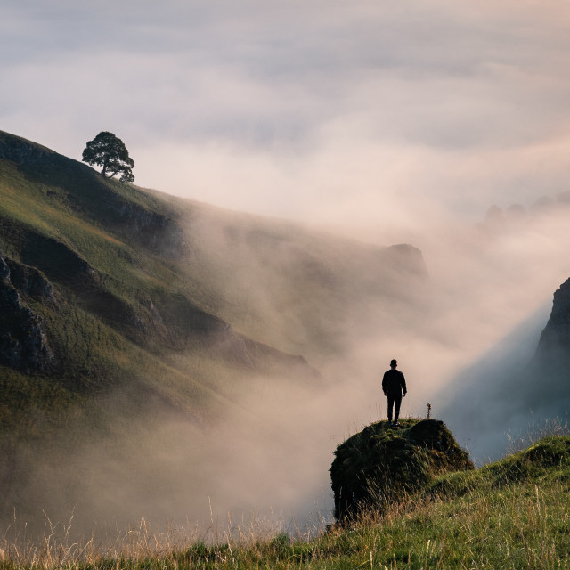 """""""Man and the Mists"""" stock image"""