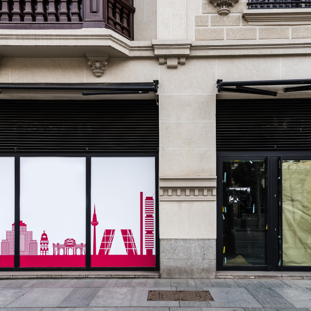 """""""Empty closed storefront in Serrano Street in Madrid"""" stock image"""