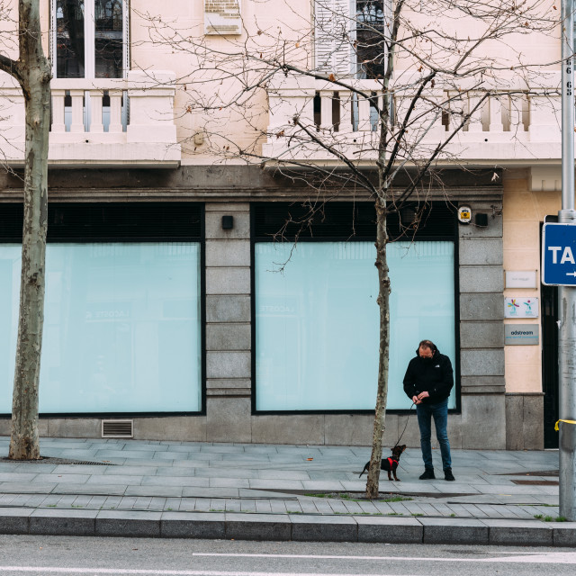 """""""Fashion storefronts in Serrano Street a luxury shoppingl street in Madrid"""" stock image"""