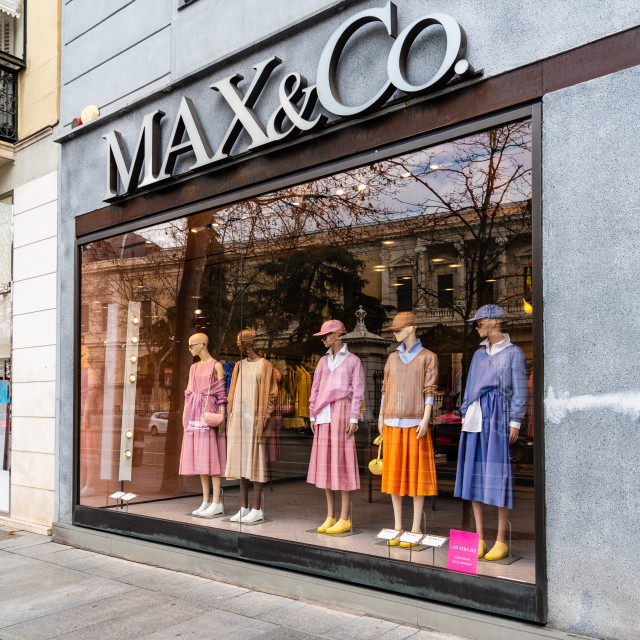 """""""Fashion storefront in Serrano Street a luxury shoppingl street in Madrid"""" stock image"""