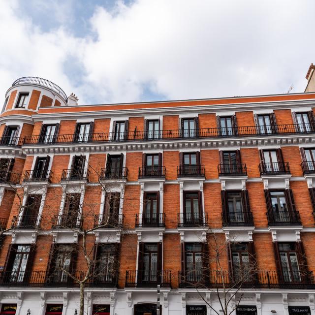 """Serrano Street in Salamanca District in Madrid."" stock image"