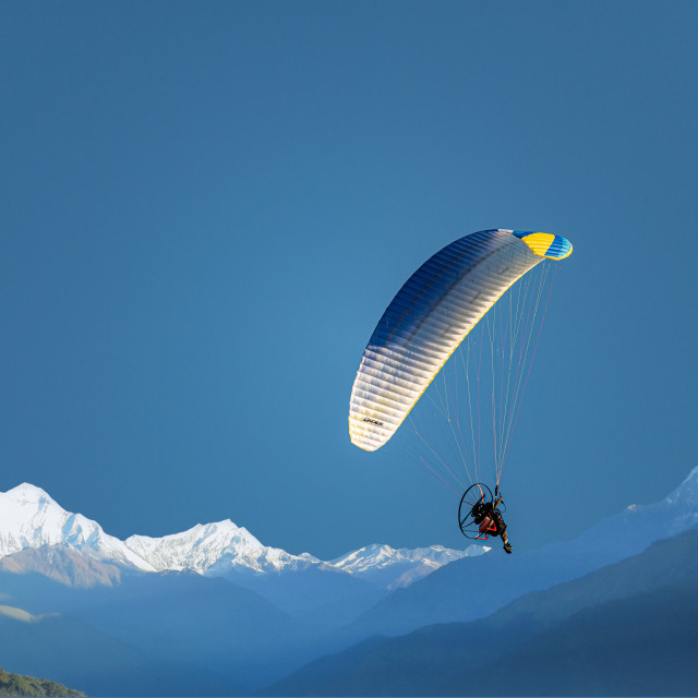 """Powered Hang Glider Mountains"" stock image"