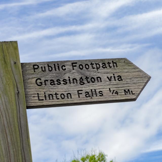 """Footpath Signpost, Grassington to Linton Falls."" stock image"