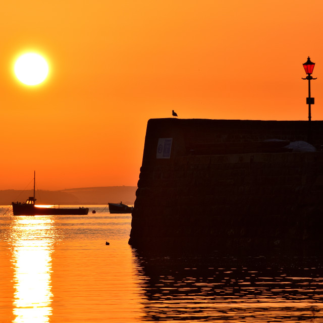 """""""Sunrise at Tenby harbour"""" stock image"""