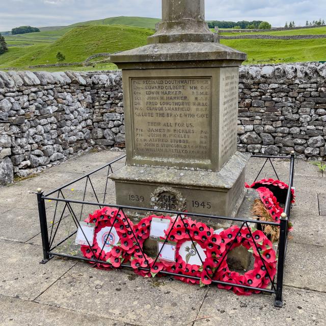 """War Memorial, St Michael & All Angels Church, Linton-in-Craven."" stock image"