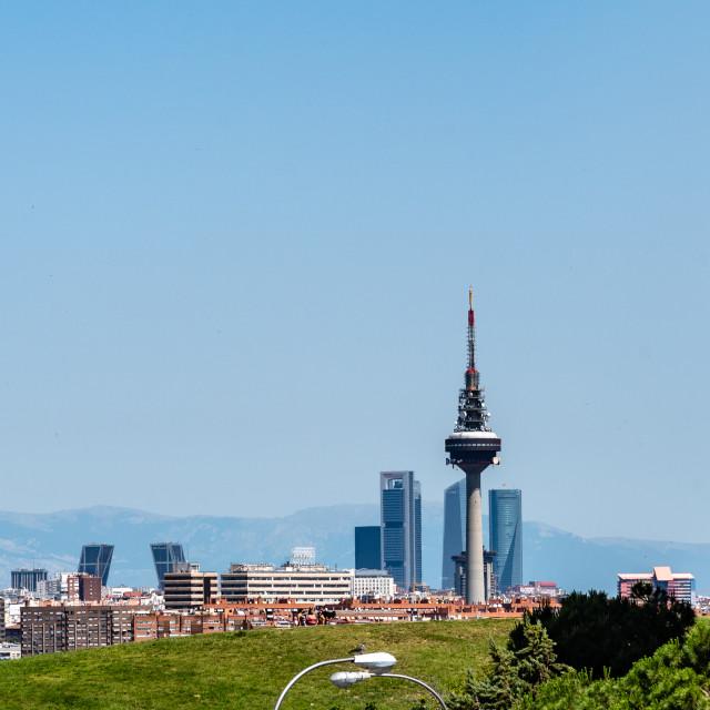 """""""Skyline of Madrid from Tio Pio Park"""" stock image"""