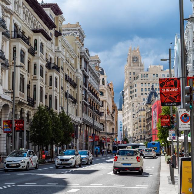 """""""Busy street scene in Gran Via Avenue in Madrid"""" stock image"""