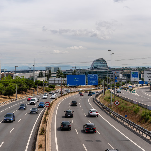"""""""Entrance to the city of Madrid from the N-1 highway"""" stock image"""