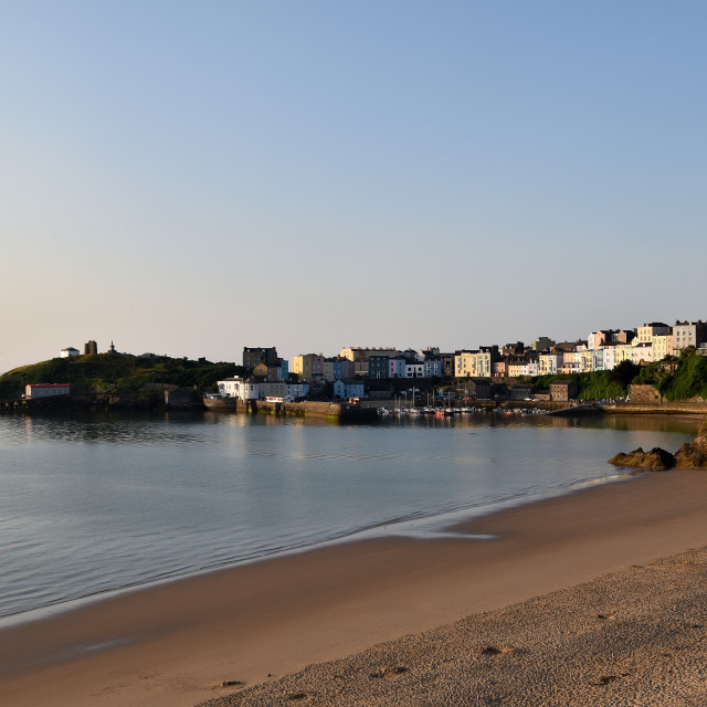"""""""Tenby in the early morning sun"""" stock image"""