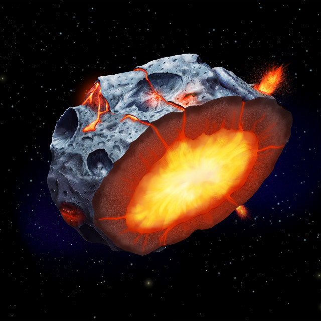 """""""Iron volcanism on a metal asteroid, illustration"""" stock image"""